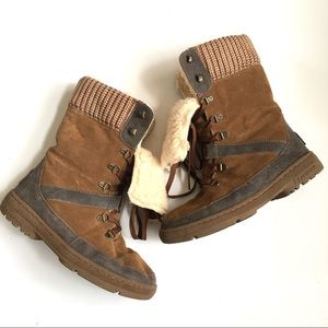 Bearpaw Serena Brown Suede Wool Lined Boots 10